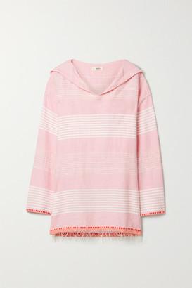 Lemlem Rekik Hooded Frayed Striped Cotton-gauze Top
