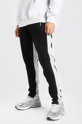 boohoo Mens Black Skinny Fit Jogger Wide Side Stripe And Zip, Black
