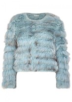 Alice + Olivia Fawn Blue Cropped Fur Jacket