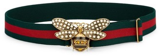 Gucci Pearly Bee Buckle Sylvie Web Belt