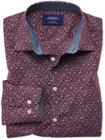 Charles Tyrwhitt Slim Fit Purple Floral Print Cotton Casual Shirt Single Cuff Size XS