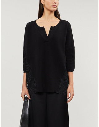 Claudie Pierlot My Lace mesh-panelled cotton-knit jumper