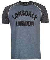 Lonsdale London Mens Marl LL T Shirt Tee Top Raglan Short Sleeve Crew Neck Regular Fit