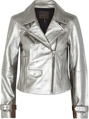 Paige Ashby Silver Leather Biker Jacket