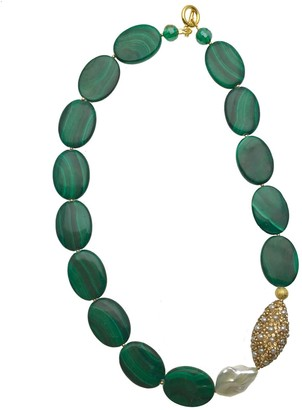 Farra Malachite With Rhinestones & Irregular Freshwater Pearls Choker