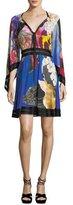 Roberto Cavalli V-Neck Flutter-Sleeve Knit-Waist Floral-Printed Dress