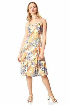 Roman Originals Women Tropical Print Burnout Fit and Flare Dress - Ladies Holiday Summer Travel Casual Everyday Party Beach Floral Fit and Flare Stetchy Knee Length Dress - Orange & Blue - Size 20