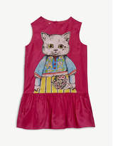Gucci Kitten print silk dress 6-12 years