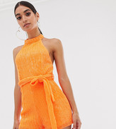 Club L London Petite halterneck sequin playsuit in neon orange