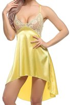 Vilania Women Nightgown Sexy Satin Lace Sling Pajamas Dress Sleepwear Chemise With V-string Mini Slip Backless ,TXZ-CA9037-2XL
