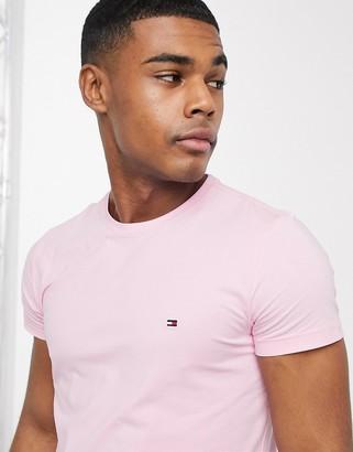Tommy Hilfiger flag logo stretch slim fit t-shirt in classic pink