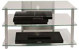 VCM TV Hifi Furniture Lowboard Entertainment Unit Table Shelf Shelves Aluminium Glass Brass Silver/Clear Sindas