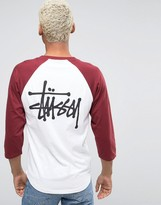 Stussy 3/4 Sleeve Raglan T-shirt With Back Logo
