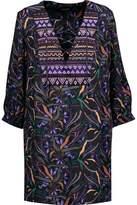 Saloni Gigi Beaded Paneled Printed Silk Crepe De Chine Mini Dress