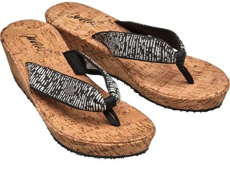 Animal Womens Susie Cork Wedge Flip Flops Filanium Grey