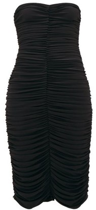 Norma Kamali Ruched Bandeau Jersey Dress - Womens - Black