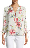 Joie Corsen Button-Front Floral-Print Silk Top