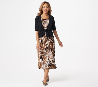 Denim & Co. Printed Jersey Sleeveless Midi Dress with Solid Shrug