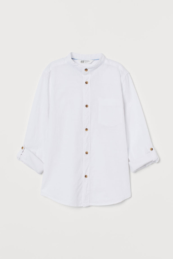 H&M Band-collar Shirt - White