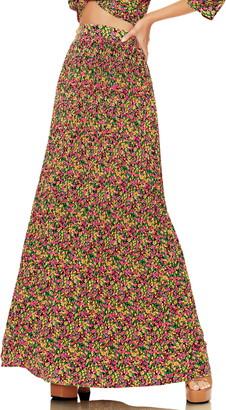 AFRM Rocco Plisse Pleat High Waist Maxi Skirt