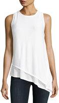 Joan Vass Asymmetric Layered Knit Tank, White