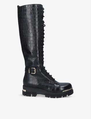 Carvela Stash High crocodile-embossed leather knee-high boots