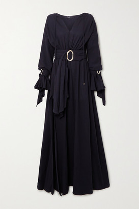 Balmain Belted Cotton-gauze Gown - Black