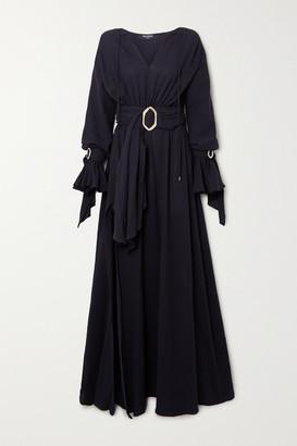 Balmain Belted Cotton-gauze Gown - Black