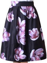URqueen Women's Retro Floral Print High Waisted Pleated Midi Skirt