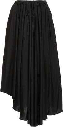 Proenza Schouler White Label Women's Asymmetric Jersey Drawstring Midi Skirt - Black - Moda Operandi