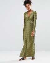 Liquorish Maxi Dress With Deep V Neck Long Sleeves And Side Splits