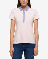 Tommy Hilfiger Chambray-Trim Polo Top, Only at Macy's