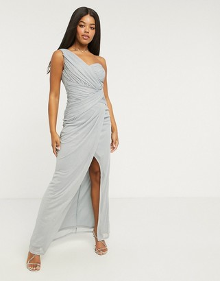 Lipsy x Abbey Clancy glitter one-shoulder maxi dress in blue