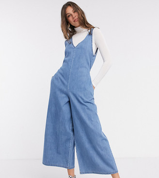 Asos Tall ASOS DESIGN Tall soft denim slouchy v neck jumpsuit in blue