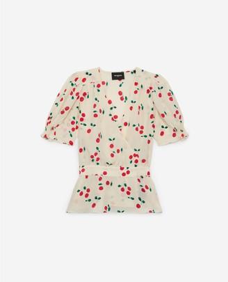 The Kooples Ecru silk T-shirt with print and sash