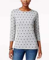 Karen Scott Petite Dot-Print Sweater, Created for Macy's