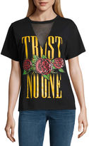 Freeze Mesh V Neck Trust No One Graphic T-Shirt- Juniors