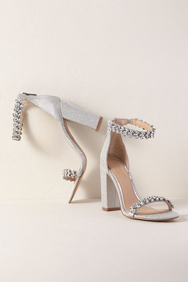 Anthropologie Jewel By Badgley Mischka Mayra Block Heels By in Silver Size 8