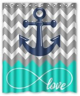 "Chevron Shower Curtain Love Infinity Forever Love Symbol Chevron Pattern with Nautical Anchor Turquoise Grey White Waterproof Bathroom Fabric Shower Curtain,Bathroom Decor 60"""" x 72"""""