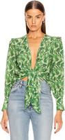 Adriana Degreas Dahlia Shirt With Voluminous Sleeves in Green   FWRD