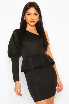 boohoo One Shoulder Puff Sleeve Peplum Mini Dress
