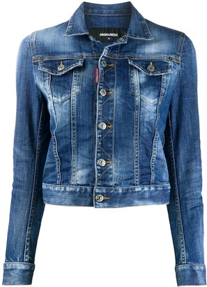 DSQUARED2 Bleached Slogan Detail Denim Jacket