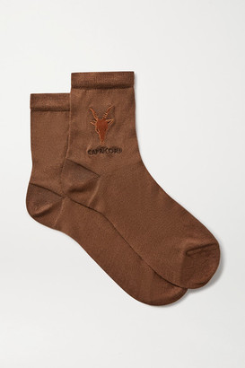 Maria La Rosa Capricorn Embroidered Silk-blend Socks - Brown
