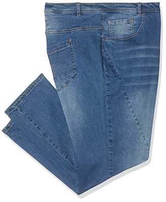 Ulla Popken Women's Jeanshose mit modischen Nähten K-Länge, Curvy Slim Jeans,39 W/32 L