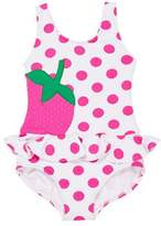 Florence Eiseman Polka-Dot Ruffle Strawberry One-Piece Swimsuit, Size 2-6X