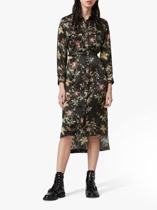 AllSaints Esther Evolution Floral Print Midi Dress, Black/Multi