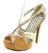 Jessica Simpson Brouge Women Open Toe Suede Brown Platform Sandal.