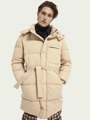 Scotch & Soda Long length belted puffer jacket | Men