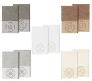 Linum Home 100% Turkish Cotton Alyssa 2-Pc. Embellished Hand Towel Set Bedding