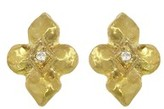 Cathy Waterman Quatrefoil Studs with Diamonds